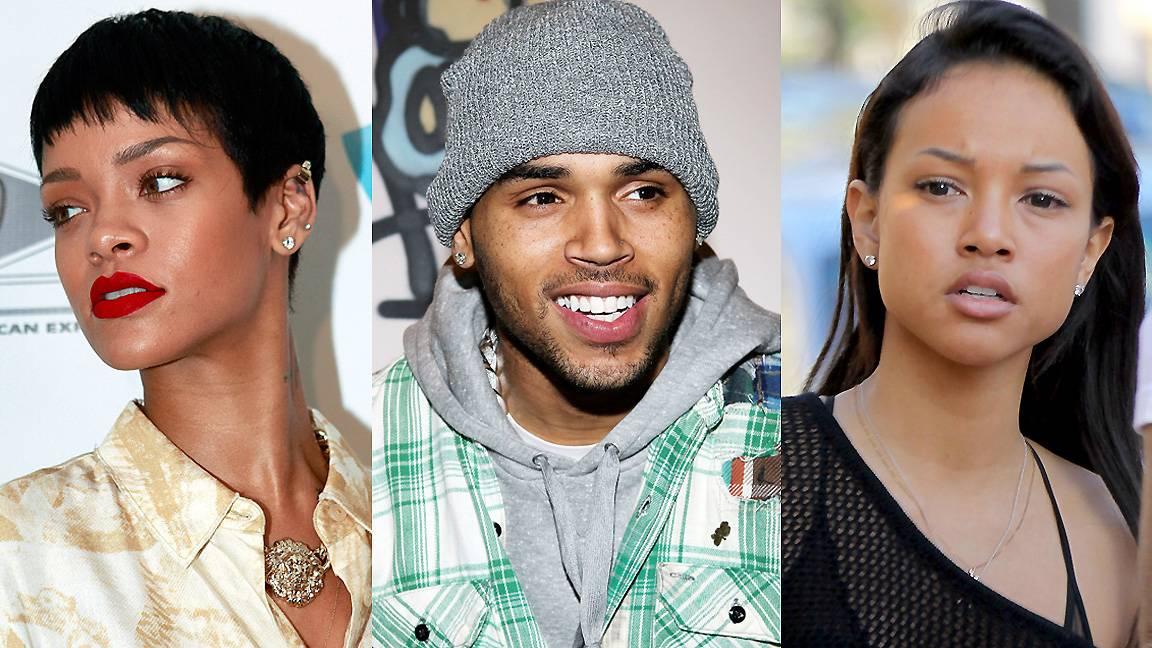 """Chris Brown/Karrueche Tran/Rihanna (""""LoveHate Thing,"""" Wale feat. Sam Dew) - """"Hold me tight, let me go/ Heal my heart, hurt my soul..."""" It's an ongoing LoveHate thing with this trio, and 2013 was no different.(Photos from left: Allison Joyce/Getty Images, Steve Mack/FilmMagic, FameFlynet, Inc)"""